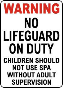 Texas No Lifeguard At Spa Sign