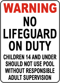 Utah No Lifeguard on Duty Sign
