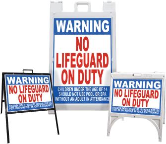 Warning No Lifeguard On Duty Sandwich Board