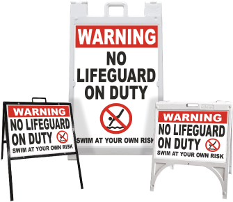Warning No Lifeguard Swim At Your Own Risk Sandwich Board