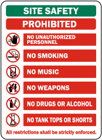 Site Safety Prohibited Sign