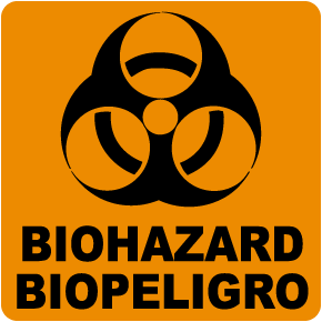 Bilingual Biohazard Label