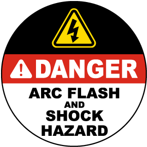 Danger Arc Flash and Shock Hazard Floor Label
