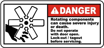 Danger Rotating Components Label