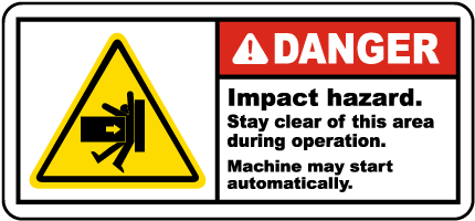 Impact Hazard Stay Clear Label