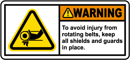 Rotating Belts Keep Guards In Place Label