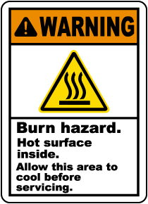 Burn Hazard Hot Surface Inside Label