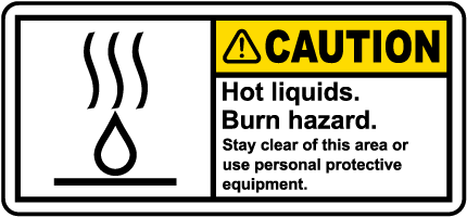 Caution Hot Liquids Label