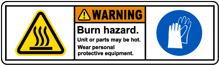 Burn Hazard Wear PPE Label