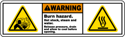 Burn Hazard Release Pressure Label