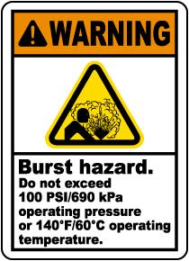 Burst Hazard Do Not Exceed Label