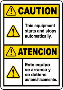 Bilingual Caution Equipment Starts Automatically Label