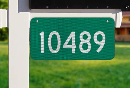 Green Horizontal House Number Sign
