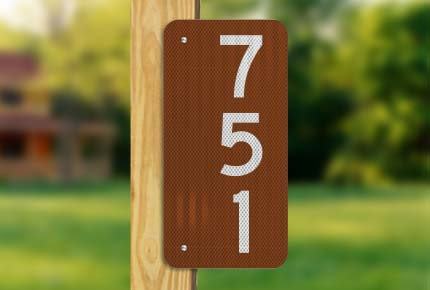 Brown Vertical House Number Sign