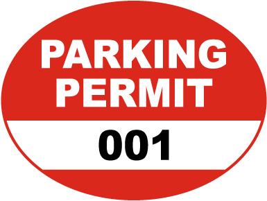 Red Parking Permit Sticker
