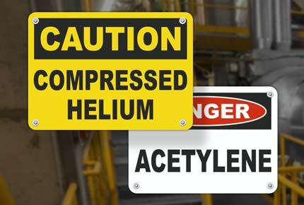 Gas Identification Safety Signs