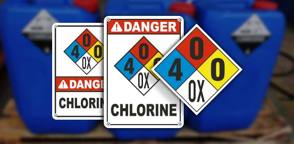 NFPA 704 Chlorine Signs