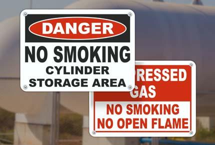 No Smoking Gas Cylinder Signs