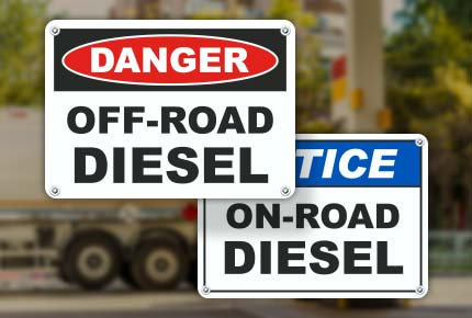 On and Off Road Diesel Signs