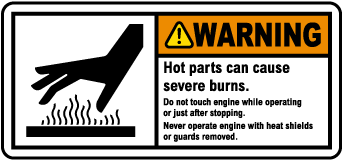 Warning Hot Parts Do Not Touch Label