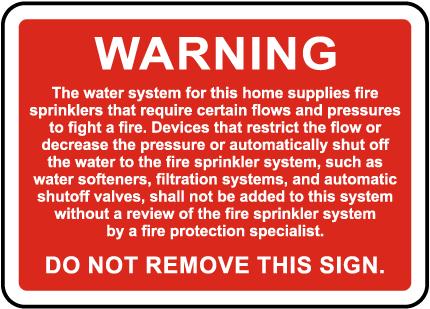 NFPA Residential Sprinkler System Warning Sign