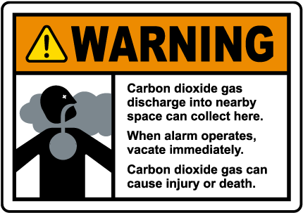 Warning Carbon Dioxide Gas Discharge Sign
