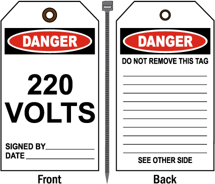 Danger 220 Volts Tag