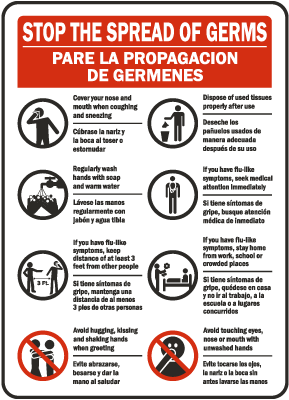 Bilingual Stop The Spread of Germs Sign