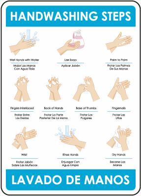 Bilingual Hand Washing the Correct Way Sign
