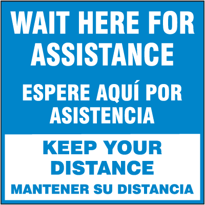 Bilingual Wait Here for Assistance Floor Sign