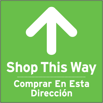 Bilingual Shop This Way Floor Sign