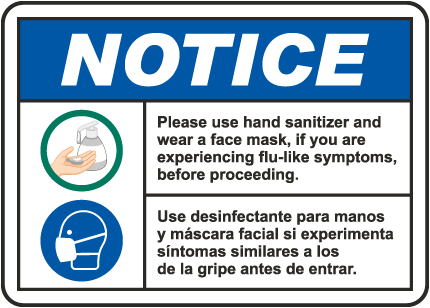 Bilingual Notice Use Hand Sanitizer Wear Face Mask Sign