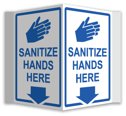 Sanitize Hands Here 3-Way Sign