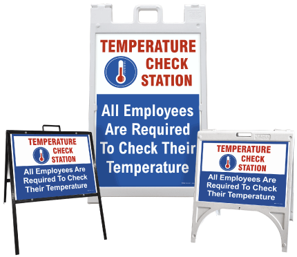 Temperature Check Station All Employees Required Sign
