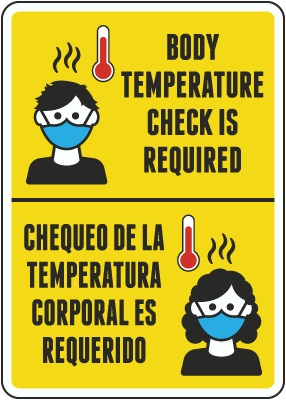Bilingual Body Temperature Check Required Sign