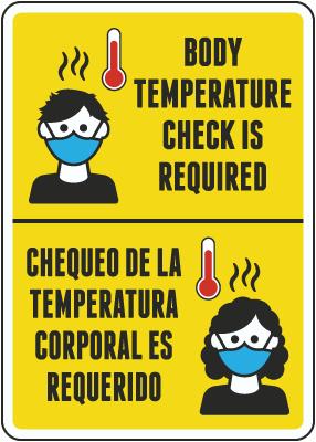 Bilingual Body Temperature Check Required Sign