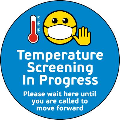 Temperature Screening in Progress Floor Sign