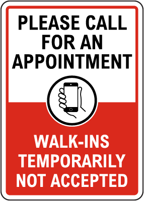 Please Call for an Appointment Sign