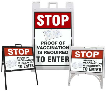 Stop Proof of Vaccination Required to Enter Sandwich Board Sign