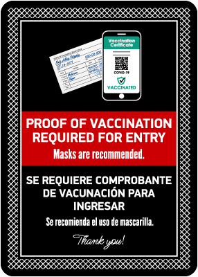 Bilingual Proof of Vaccination Required to Enter Sign