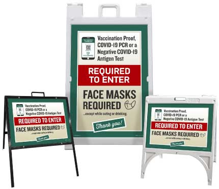 Vaccination Proof, Covid-19 PCR or Negative Test Required for Entry Sandwich Board Sign