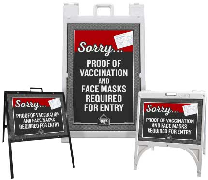 Proof of Vaccination and Face Masks Required for Entry Sandwich Board Sign
