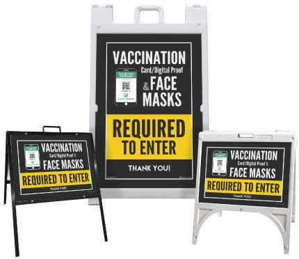 Vaccination Proof & Face Masks Required to Enter Sandwich Board Sign