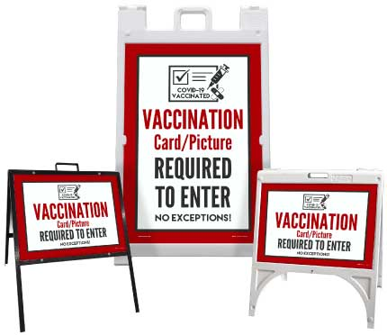 Vaccination Card/picture Required to Enter Sandwich Board Sign