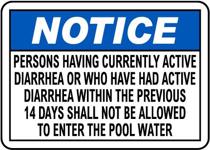 California Diarrhea Pool Sign