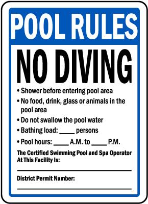 Washington DC Pool Rules No Diving Sign