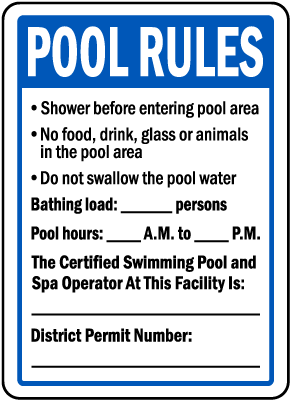 Washington DC Pool Rules Sign