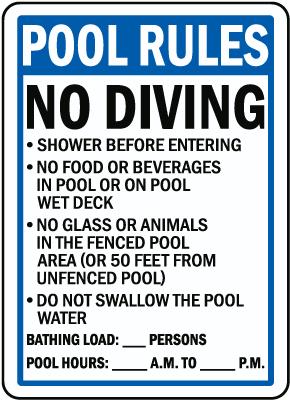 Florida Pool Rules No Diving Sign