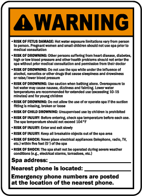 Georgia Spa Warning Sign
