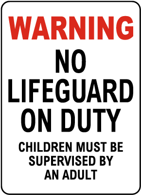 Maine No Lifeguard on Duty Sign